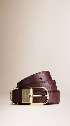 Burberry Deep Claret Embossed Check London Leather Belt - Smooth London leather belt with textured check-embossed detail.  Polished metal buckle.  Sartorial leather lining.  Discover more accessories at Burberry.com