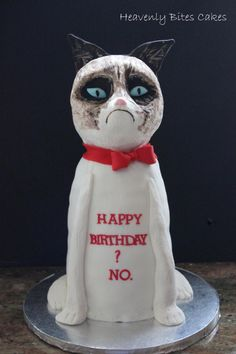 "Grumpy Cat ""Happy Birthday? No."" {3D Sculpted}    http://www.heavenlybitescakes.com http://www.facebook.com/heavenlybitescakes"