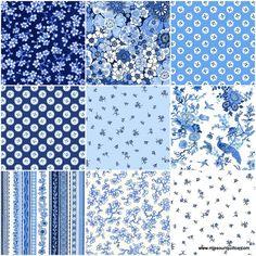 Oriental Blue Sundaes - The Henley Studio - Andover Fabrics