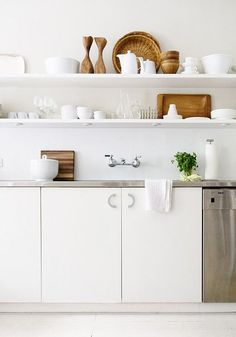 kitchen - exposed shelves and all white