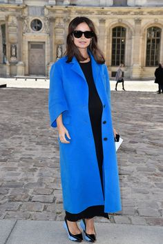 Miroslava Duma.. royal blue Dior coat combined with black maxi dress and Dior shoes..