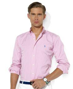 Polo Ralph Lauren Shirt, Long Sleeve Custom Fit Stripe Poplin Shirt - Mens Polo Ralph Lauren - Macys