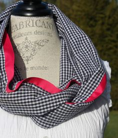 pink and black gingham scarf