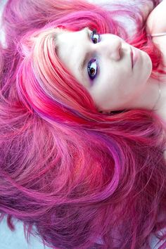 pink, raspberry, violet, no usually one for these colors, but her hair's awesome:)