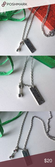 Strong is Beautiful Silver Charm Necklace Strong is Beautiful Silver Charm Necklace ✨Dumbbell charm✨Strong is Beautiful charm✨Silver plated chain✨ Unique + fun gift!  Perfect for athletes, body builders, Cross Fit lovers  Jewelry Necklaces