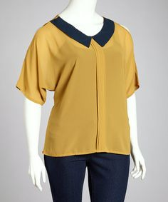 Take a look at this Mustard & Black Cutout Top - Plus by C.O.C. on #zulily today!