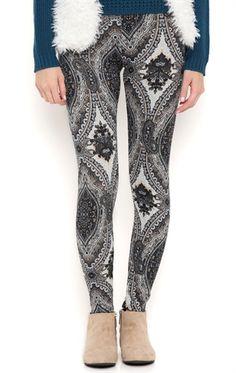 Deb Shops Boho Paisley Print Leggings $8.00