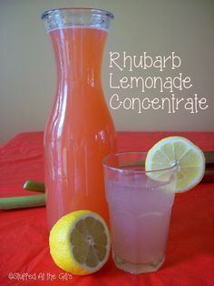 Have Rhubarb Lemonade Concentrate ready in the fridge to mix icy cold drinks on a hot summer day. Have Rhubarb Lemonade Concentrate ready in the fridge to mix icy cold drinks on a hot summer day. Rhubarb Lemonade Recipes, Rhubarb Tea, Rhubarb Juice, Rhubarb Desserts, Rhubarb Alcohol Recipes, Rhubarb Canning Recipes, Rhubarb Jello, Refreshing Drinks, Fun Drinks