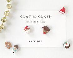 Christmas earrings - beautiful handmade polymer clay jewellery by Clay & Clasp
