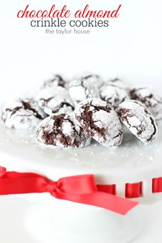 Chocolate Almond Crinkle Cookies - The Taylor House