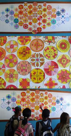 art room - love the way these mandalas are displayed....beginning of the school year project.