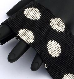 Beaded Bracelet Spots Silver and Black on Matte by NeatBeading, $61.00