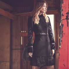 Top coat! Go luxe in our beautifully embroidered Alessandra coat - a real statement piece for A/W. Click on the link in our bio to shop now #monsoon #autumncoat #coats #aw15 8481250112:ALESSANDRA COAT