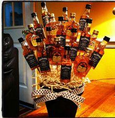 Jack Daniels & Crown Royal liquor bottle bouquet