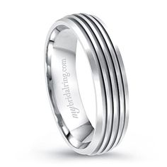 This Multi Grooved Comfort Fit Engagement Band is crafted in 14k white gold - OUR PRICE: $569.99 - http://www.mybridalring.com/Mens/grooved-comfort-fit-engagement-band/