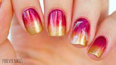 Fall Gradient Nail Art #nailtutorial #youtube #fallombrenails