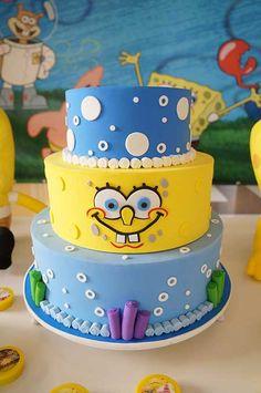 Festa Bob Esponja – 70 Ideias Super Fofas com Dicas de Decoração! Fondant Cakes, Cupcake Cakes, Pastel Mickey, Spongebob Birthday Party, Ocean Cakes, Fake Cake, Ice Cream Party, Cakes For Boys, Cake Designs