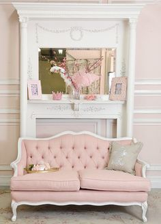 classy shabby chic pink things   Shabby Cottage Chic Pink Linen Tufted French Style Loveseat Couch Sofa ...