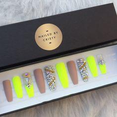 Matte Neon Yellow & Nude Swarovski Crystal Press by NailedByCristy