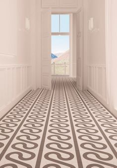 This tile (which can be rotated for multiple patterns) provides depth and interest in this hallway