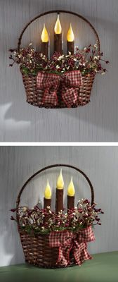 "Primitive Country Berry Basket with LED Candles...inspiration for half basket ""wreath"" for front door."