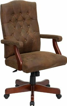 Flash Furniture 802-BRN-GG Bomber Brown Classic Executive Office Chair by Flash Furniture. $197.35. Traditional swivel chair. Rustic brown ultra-suede upholstery. Medium Density Thick Padded Seat, Back and Arm Cushions. Pneumatic seat height adjustment. High back design with tufted back. Bomber Brown Classic Executive Office Chair [802-BRN-GG], 26-inch Width by 21-1/2-inch Depth by 43-3/4-inch - 47-1/2-inch Height.