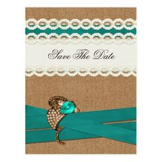 Shabby Chic Save the Date Cards FAUX burlap and white lace, aqua save the Date Postcard