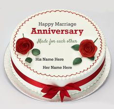 write parents name on cake image,red rose round cake name pics,best wedding anniversary cake pics with cute couple stylish name,you can write couple nickname on cake photo Happy Marriage Anniversary Cake, Anniversary Cake Pictures, Golden Anniversary Cake, Anniversary Cake With Name, Wedding Anniversary Greetings, Happy Wedding Anniversary Wishes, Birthday Wishes Cake, Happy Birthday, 24th Birthday