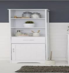 Freestanding Tall Cabinet White Shelves Drawer Cupboard Wood Bathroom Furniture