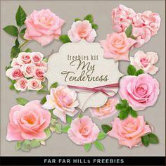 Scrapbooking TammyTags -- TT - Designer - Far Far Hill,  TT - Item - Element, TT - Primary Color - Red, TT - Primary Color - Pink or Peach, TT - Thing - Flower