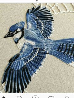 "cafeinevitable: ""Blue Jay by Alanna Hart hand embroidery "" When anyone asks what I mean by thread painting, I will forever show this photo now🖤 Embroidered Bird, Silk Ribbon Embroidery, Crewel Embroidery, Hand Embroidery Patterns, Cross Stitch Embroidery, Machine Embroidery, Embroidery Designs, Embroidery Letters, Couture Embroidery"