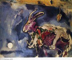 The dream (The rabbit), Marc Chagall, 1927, 81 x 100 cm, Musée d'Art Moderne de la Ville de Paris, Paris, France