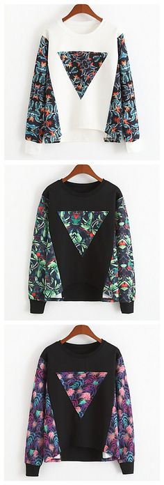 Round Collar Pullover Sweatshirt in 3 different colors