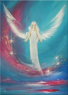 """Original angel painting """"I feel you"""" , abstract spiritual mystic art, modern contemporary artwork, wall decoration,blue, white, gift on Etsy, $270.93"""