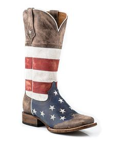 Brown American Flag Leather Cowboy Boot