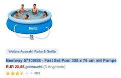 Amazon Warehouse Deals   Günstige Pools und Poolartikel   Bsp. 305 x 76cm Bestway Pool mit Pumpe für 20,65 Euro