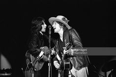 Musicians <a gi-track='captionPersonalityLinkClicked' href='/galleries/personality/203289' ng-click='$event.stopPropagation()'>Bob Dylan</a> and <a gi-track='captionPersonalityLinkClicked' href='/galleries/personality/208162' ng-click='$event.stopPropagation()'>Joan Baez</a> are photographed during the Rolling Thunder Revue in 1975.
