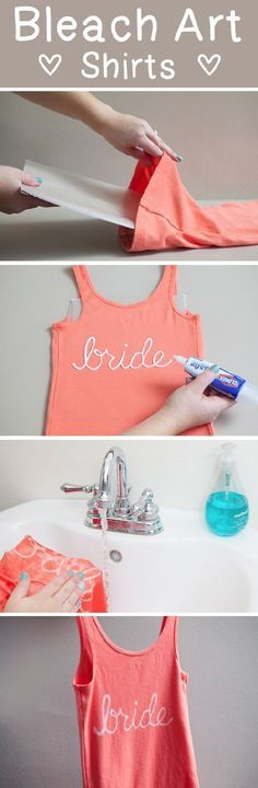 DIY Bleach Tank Top | DIY for Home & Fashion  -> INSPIRATIE: https://www.etsy.com/nl/listing/289390875/bruid-stam-tanktoppen-bachelorette?ref=shop_home_listings