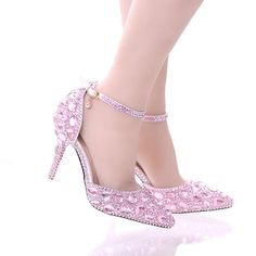 Rhinestone Bride Shoes Pointed Toe High Heel Stiletto Shoes Ankle Strap  Wedding Party Shoes Silver Pink Red Color Summer Sandals 24fc87575390