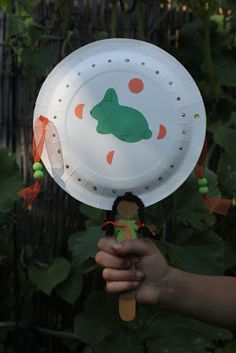 Hand drum with Jade Rabbit and Moons: Mid-Autumn Moon Festival