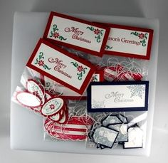 Hand Stamped Christmas Tags with Stampin' Up! Rubber Stamps and Cardstock