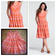 """Lands End • Striped Dress w/ Pockets! Colorful, versatile and so comfortable! Lands end summer dress, v-neck, with 2 pockets, and fit/flare style. So pretty and flattering! Features hidden bra strap holders. Petite size 12, true to size. Bust is 20"""" and waist tapers at 17.5"""". Knee length on a 5'4"""" frame. Excellent used condition. Take advantage of a 15% discount when you bundle 2+ items, plus you save on shipping! Lands' End Dresses Midi"""