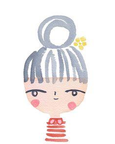 Girl Friday Choupinette Watercolor Art Print   Suzy Ultman