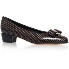 Salvatore Ferragamo Vara Gold Pinstripe Pumps ($540) ❤ liked on Polyvore featuring shoes, pumps, golden shoes, gold bow shoes, golden pumps, yellow gold shoes and gold round toe pumps
