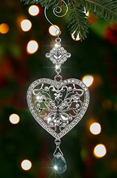 Heart and Butterfly Hanging Ornament - Clear Crystals and Filigree Ornament - Sparkly Silver Christmas Ornament - Silver Christmas Decorations