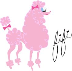 A fluffy retro pink poodle! Original Art by Claudette Barjoud, a.k.a Miss Fluff. www.missfluff.com