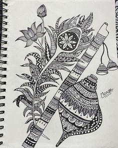 Cute Doodle Art, Doodle Art Designs, Mandala Art Lesson, Mandala Drawing, Flute Drawing, Zentangle Drawings, Zentangles, Peacock Feathers, Peacock Colors
