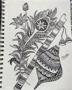 Flute Drawing, Doodle Art Drawing, Zentangle Drawings, Mandala Drawing, Mandala Sketch, Mandala Art Lesson, Mandala Artwork, Art Drawings Beautiful, Art Drawings Sketches Simple