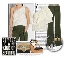 """""""Be Your Own Kind Of Beautiful"""" by leanne-mcclean ❤ liked on Polyvore featuring Rosie Assoulin, Giuseppe Zanotti, Paula Cademartori, RALPH, Vince Camuto, Wedge, khaki, Sleeveless, wideleg and offtheshoulder"""