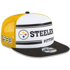 Men's New Era White/Gold Pittsburgh Steelers 2019 NFL Sideline Home Alternate Snapback Adjustable Hat, Size: One Size, STL White Pittsburgh Steelers Merchandise, New Era Homes, 100 Logo, Dope Hats, Gucci Hat, Fitted Caps, Snapback Hats, Hats For Men, Gifs
